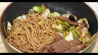 Жареная говядина с овощами и гречневая лапша по японски Скияки Илья Лазерсон Мировой повар