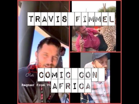 Travis Fimmel 💙💋💘 funny moments  Comic Con Africa 2018  adorable playing with cheetah cub
