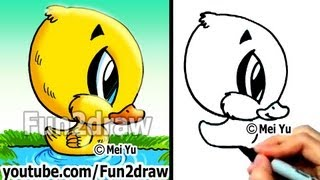 How to Draw Cartoons - Duckling in 2 min - Easy Things to Draw - Draw Animals - Fun2draw