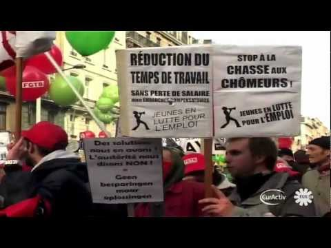Belgian unions hold mass protest against austerity measures