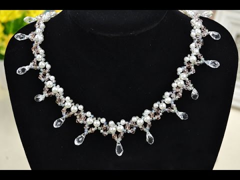 360ed3df7f How to Make a Beaded Bridal Necklace with Pearl and Crystal - YouTube