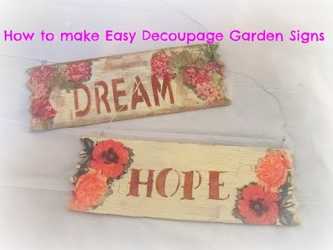how to make decoupage wood garden signs/ Tutorial/How to make a DIY Pallet Sign w/ Decoupage