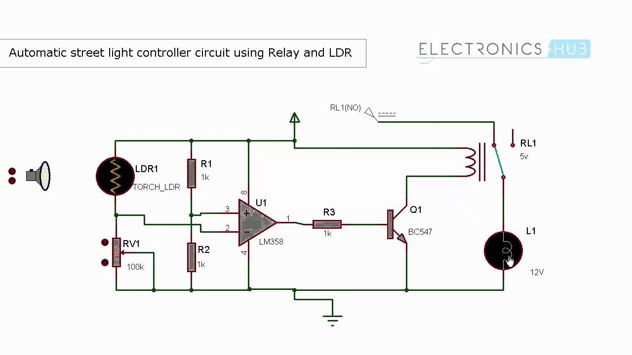 automatic street light controller using relays and ldr youtube rh youtube com Simple Circuit Diagram LDR LDR Repeating Timer Circuit Diagram