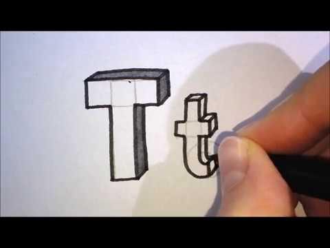 Wonderbaarlijk How to draw the letter T in 3D   Hoe teken je de letter T in 3D LD-49