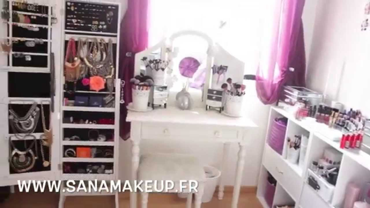 Room tour mes rangements make up makeup collection for Coiffeuse avec miroir pas cher