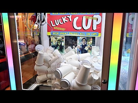 FOUND A MYSTERY CUP CLAW MACHINE!!! (WHAT'S INSIDE WILL BLOW
