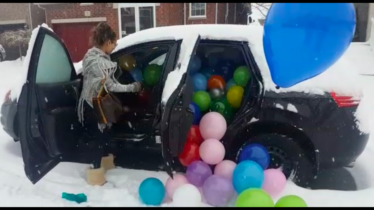 FILLED THE CAR WITH BALLOONS HAPPY BIRTHDAY MOM