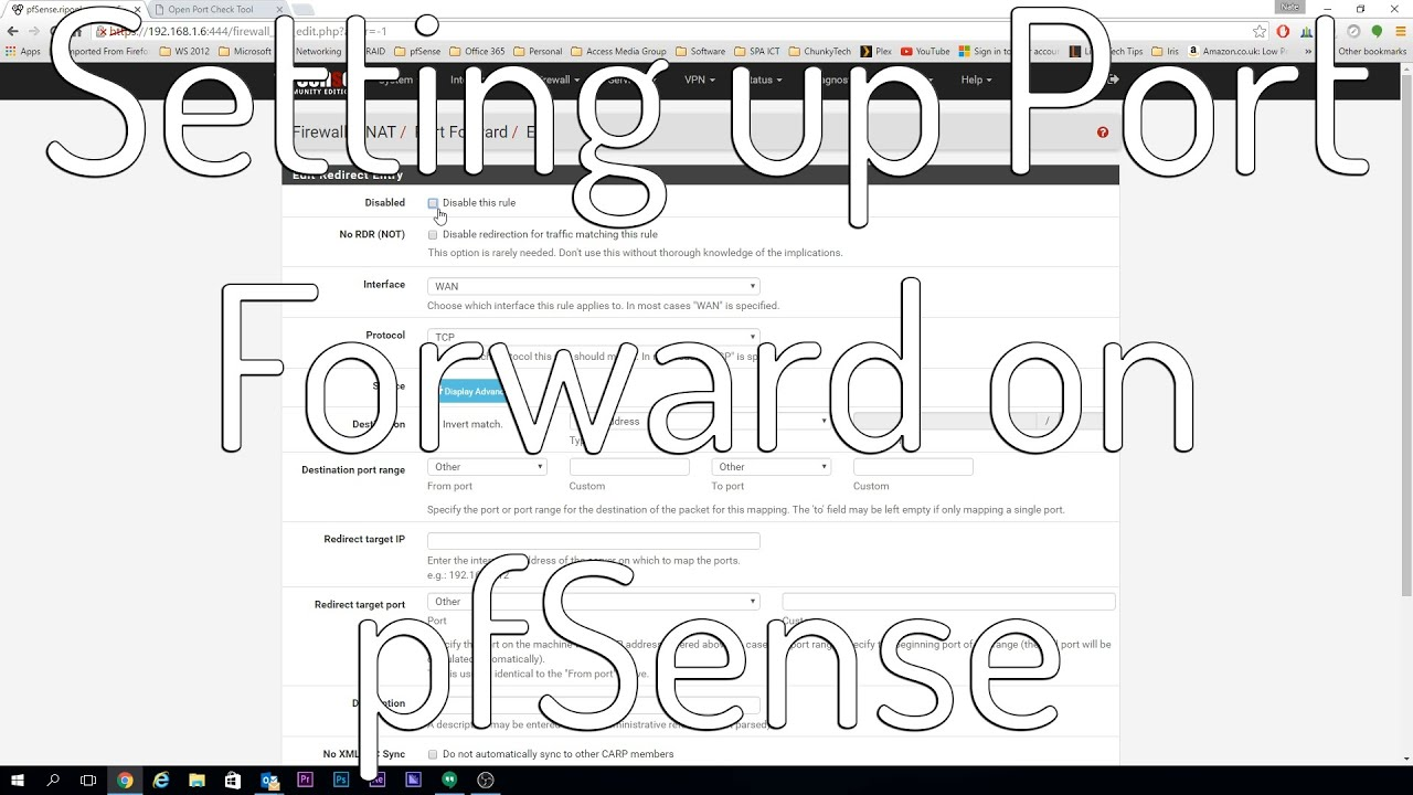 Setting up PORT FORWARD on pfSense