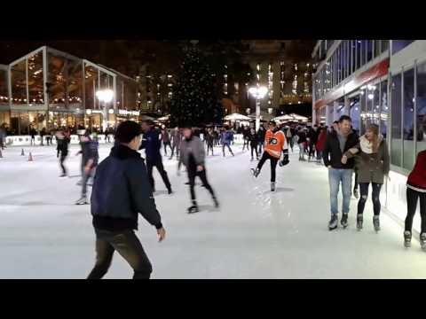 Skating in Bryant Park, a beautiful outdoor rink in Manhattan