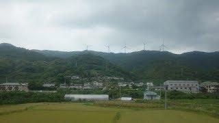 (車窓より) JR西日本 紀伊本線 『由良風力発電所』/ 和歌山県日高郡