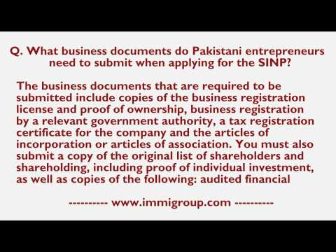 What business documents do Pakistani entrepreneurs need to submit when applying for the SINP?