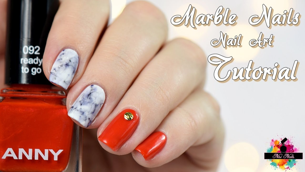 DIY Marmor Nägel mit Nagellack | Anleitung | Marble Nails Easy Nail ...