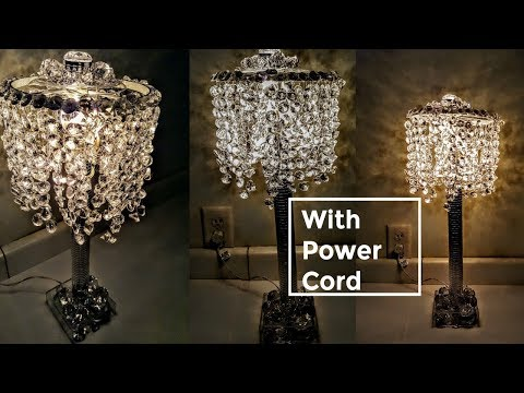 DIY Dollar Tree GLAM Lamp With Power Cord And A Lot Of BLING | Home Decor