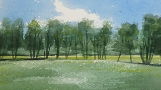 Meadow with Trees Watercolour Painting - By Vamos - Slow Life Art