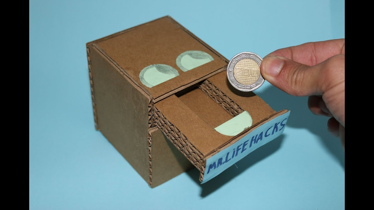 How to make coin bank box at home youtube for How to make a coin bank