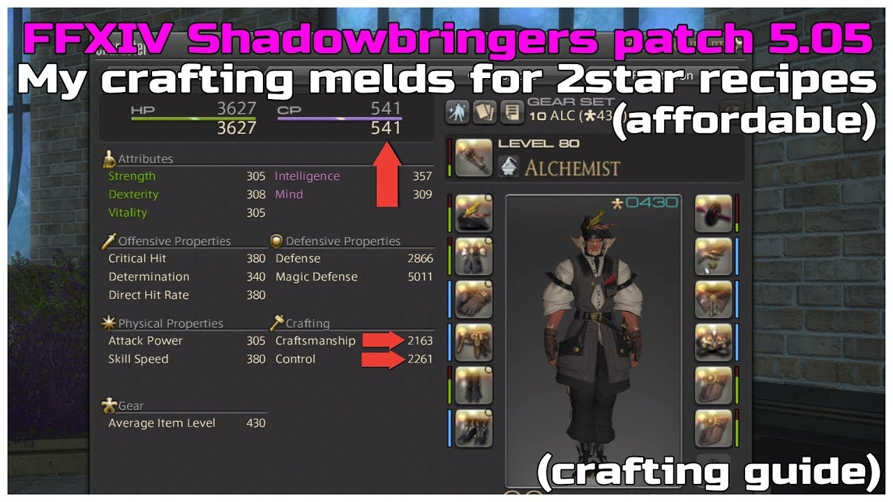 FFXIV Shadowbringers patch 5 05 My crafting melds for 2star recipes  (affordable)