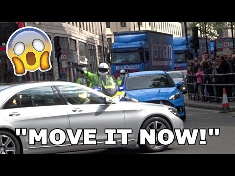 "''I DON'T CARE! MOVE IT NOW!"" - Officer SHOUTS as Mercedes BLOCKS Police in London!"