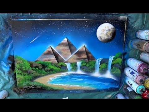 Oasis in the desert night SPRAY PAINT ART by Skech