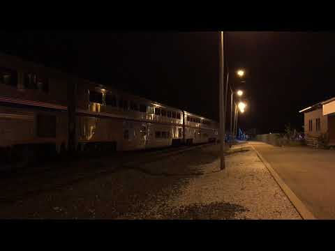 Amtrak's Capital Limited nightime station stop - Alliance, OH