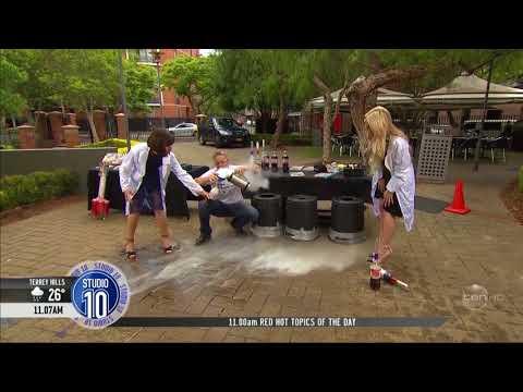 Australian TV Host almost killed by Exploding Coke Bottle Edited Slow and Zoomed