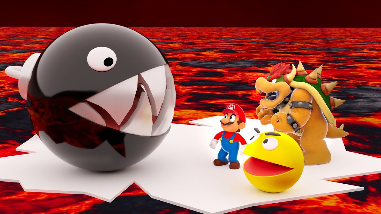 Pacman and Super Mario vs giant Chain Chomp