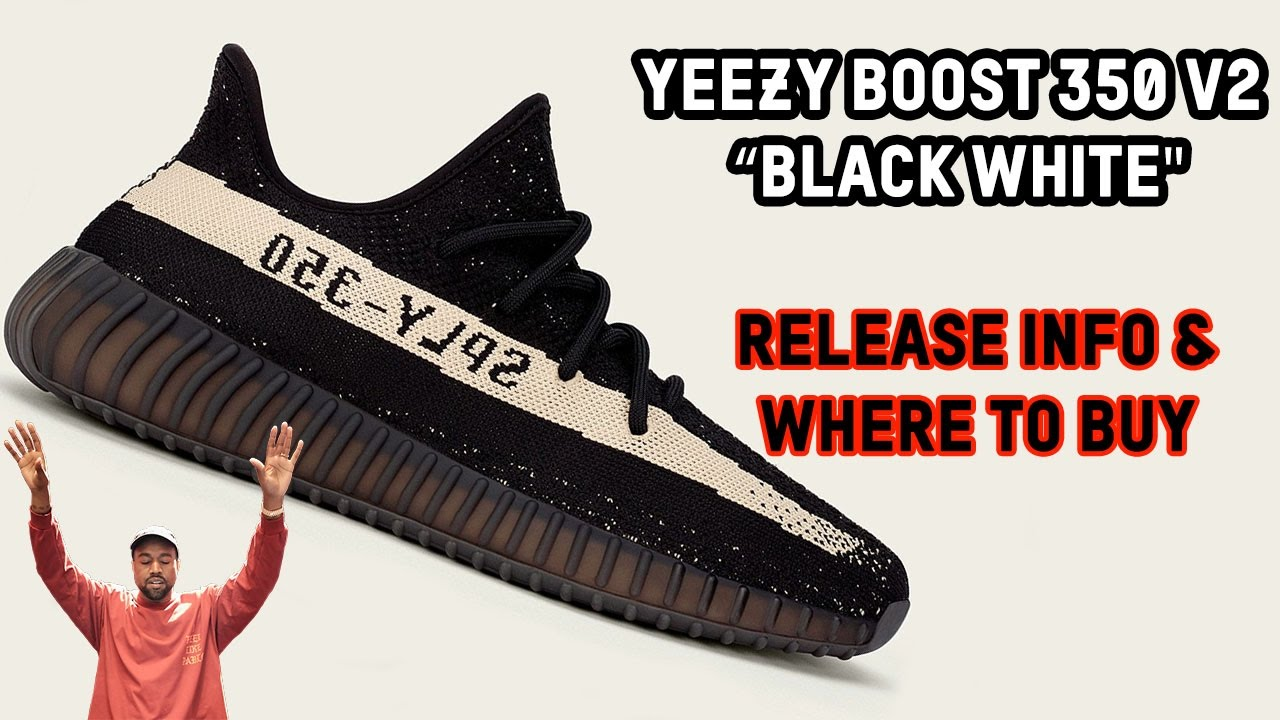2b5e4dfcbda3f Where to Buy the adidas Yeezy Boost 350 V2 Oreo Black White + Release Info  - YouTube
