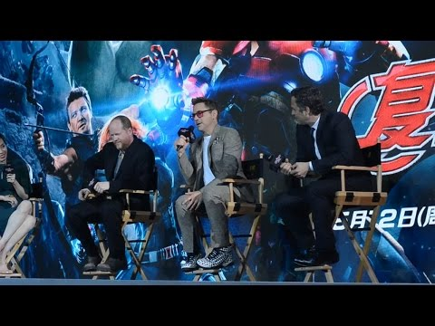 Avengers Age of Ultron China Premiere,Robert downey jr. Mark Ruffalo and Joss whedon