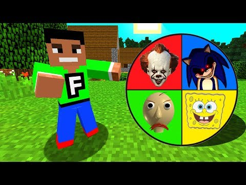 Minecraft PE : DO NOT SPIN THE MYSTERY WHEEL! (Sonic.EXE, Pennywise & Spongebob)