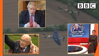 RAF flypast and PM tribute for Captain Tom Moore's 100th birthday 💯🎂🎖️🛩️ - BBC Breakfast | BBC