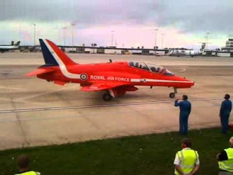 Red Arrows ready to take off from Jersey Airport