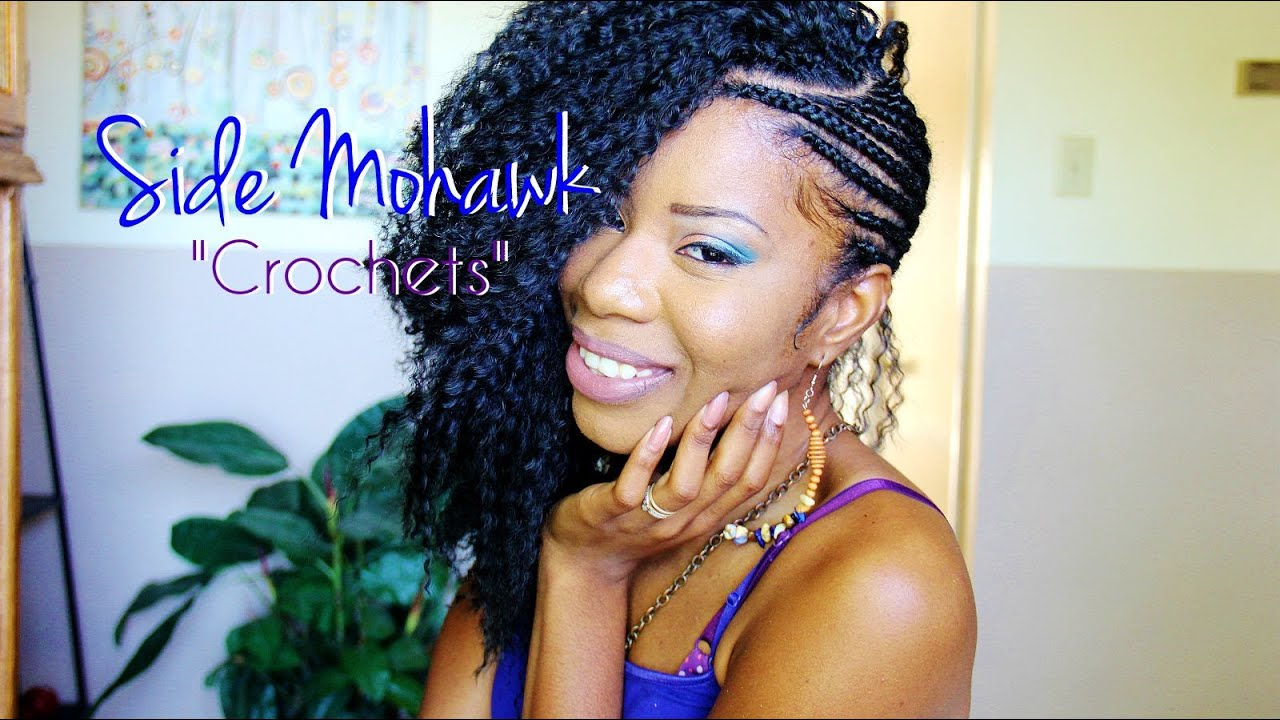 Cornrow Patterns For Crochet Box Braids : Side Mohawk PART 2: Crocheting & Cutting Hair - YouTube