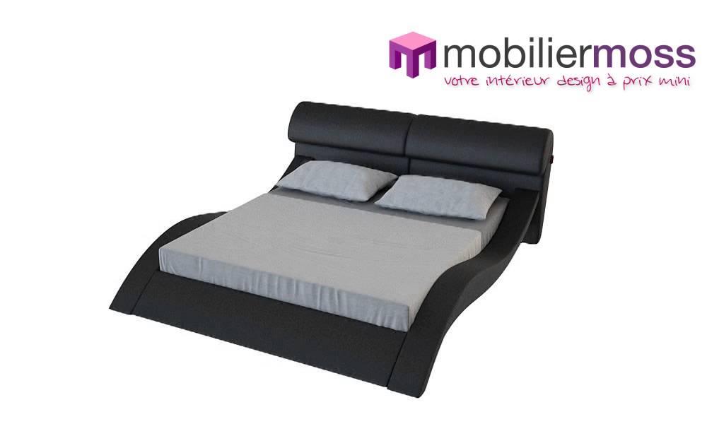 lit cuir design avec leds macky noir mobilier moss youtube. Black Bedroom Furniture Sets. Home Design Ideas