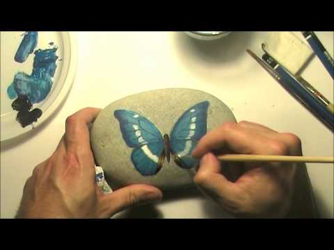 How to paint a butterfly on a sea rock | Time-lapse painting video tutorial
