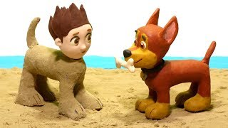 Paw Patrol Ryder & Chase Playing in the Sand Castles Superhero Babies Stop Motion videos
