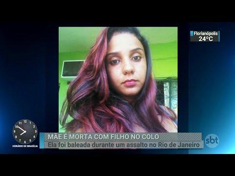Esposa de PM é baleada com o filho no colo durante assalto no RJ | SBT Brasil (10/03/18)