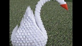 Идеи рукоделия. Модульное оригами для начинающих (origami). Лебедь из бумаги.Урок 3.