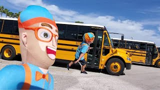 Blippi dressed Toddler Famous School bus song  learn parts of the Bus Blippi Toy Sing Along for kids
