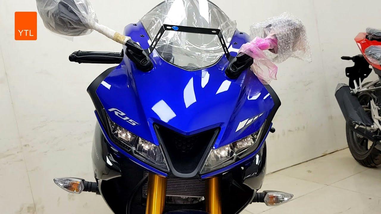 The New 2021 Yamaha R15   New Blue Mixed Black