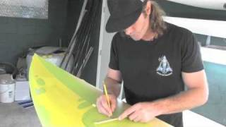 Amazing Surfboard Painting with Tape Cutout and Spray Paint by Drew Brophy