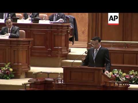 Chinese Premier Li Keqiang addressed the Romanian Parliament