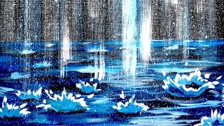 Falling Rain - Step by Step Acrylic Painting on Canvas for Beginners