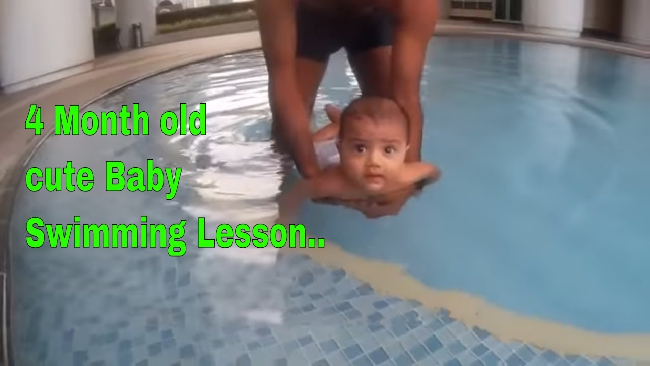 4 month old baby first swimming lesson - YouTube