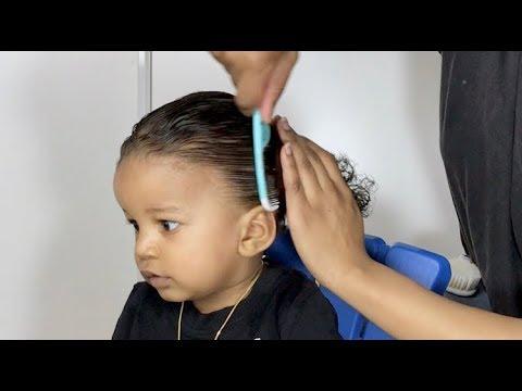 toddler-boy-hairstyles-01 -low-ponytail- -#toddlerboyhairstyle-#boyhairstyles-#sheamositure-#cantu