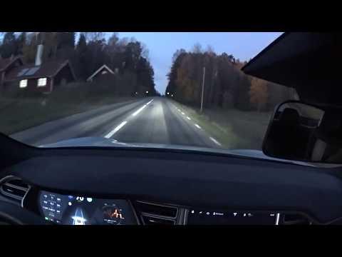 Tesla on winding road Autopilot 2.0 at sunset - Curve of death
