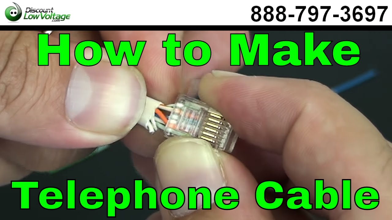 how to make a telephone cable usoc rj11 rj45 youtube rh youtube com RJ11 Jack Wiring Diagram RJ11 Wiring Color Code