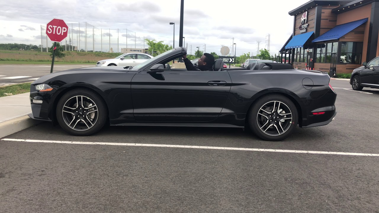 2018 ford mustang convertible soft top open and close from outside