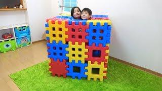 ブロックのお家? ごっこ遊び こうくんねみちゃん Playing with Toy Blocks