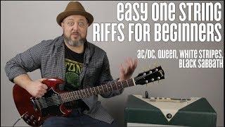 AC/DC, Queen, White Stripes, Super Easy Beginner Guitar Riffs on One string