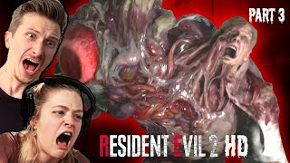 Scared Buddies Fight Their First Boss in Resident Evil 2