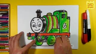 How to draw Percy the Small Engine from Thomas and Friends